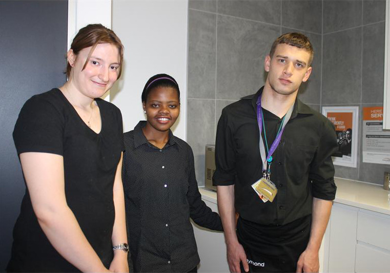 In charge… Hayley Hall, Mareline Phakati and Raymond Haupt are part of the group of 15 intellectually and physically disabled youngsters working as interns at Alexander Forbes in Sandton.
