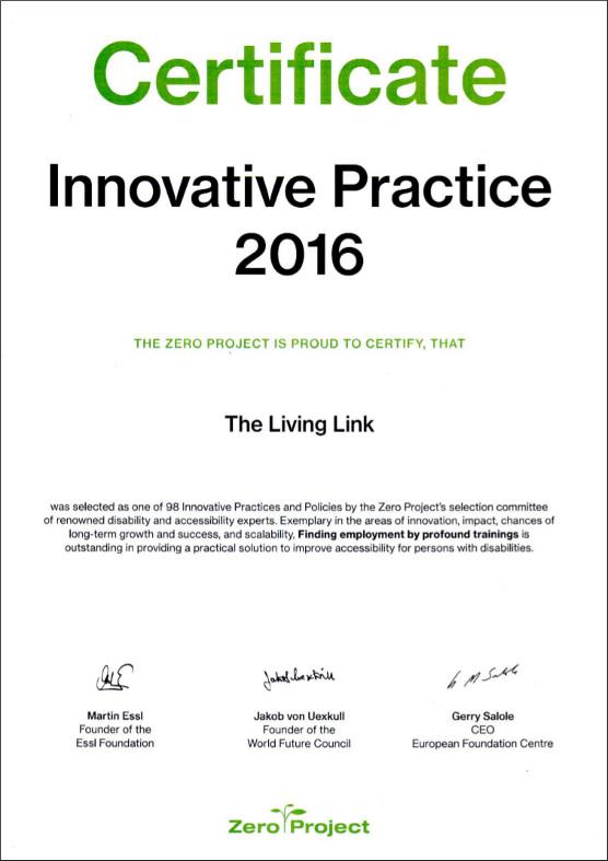 Zero Project 2016 Certificate